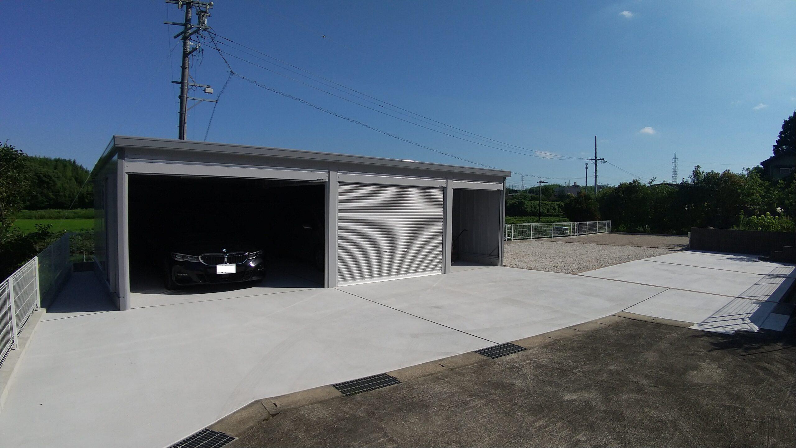 和風のお庭から機能的なガレージスペースへ